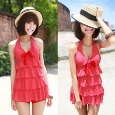2013 one piece dress twinset female swimwear small push up swimwear  v neck lovely