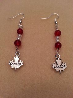 Canada Red and White Maple Leaf Earrings by PickinsGalore on Etsy, $7.57