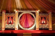 this pink and orange drapery with white floral arrangements Desi Wedding Decor, Wedding Stage Design, Wedding Hall Decorations, Marriage Decoration, Wedding Mandap, Backdrop Decorations, Wedding Ideas, Flower Decorations, Drapery Wedding