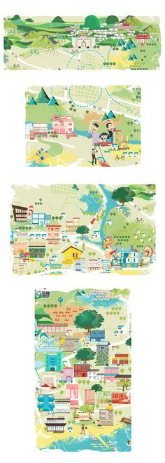 Pinkface Lu - Details from map of Shenzhen, China China Travel, Travel Maps, Travel Posters, Graphic Design Illustration, Book Illustration, Illustrations, Mental Map, Map Design, Travel Design