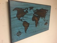 Wooden world map, map wall art, Large Carved map, Vintage map, rustic, travel decor, anniversary gift idea, Blue Map, custom Wood wall art by HowdyOwl on Etsy
