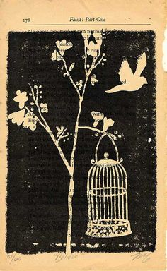 birdcage print on old book page.