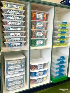 Organizing and labeling math materials for easy student access.