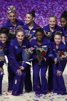 """The USA Women's Gymnastic team headed to Rio is """"most decorated and competitive women's gymnastics teams ever,"""" according to the Team USA website. It's a solid team with two Olympic veterans! Us Gymnastics Team, Gymnastics Fails, Gymnastics Videos, Gymnastics Workout, Olympic Gymnastics, Olympic Team, Olympic Games, Gymnastics History, Artistic Gymnastics"""