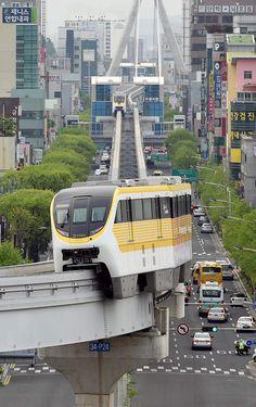 Monorail passing through Daegu South Korea [OS] [600955]