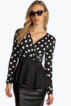 real cute polkadot peplum cross over long sleeve top