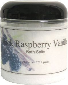 Bath Salts - Black Raspberry Vanilla, 8 Ounces by Eclectic Lady. $6.99. Preservative Free. 8 Ounces. Dye Free. Close your eyes and relax in a warm bath with our bath salts. The bath salts come with a scoop for easy measuring. Black Raspberry Vanilla is juicy, black raspberries with sweet vanilla.