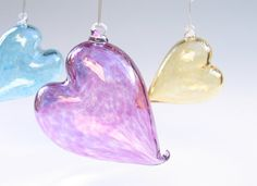 Heart Ornament Mothers Day Gift / Blown Glass Heart by AvolieGlass, $45.00
