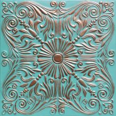 Astana Accent Copper Patina Pvc) Ceiling Tile Antique Ceilings - Tray ceiling in kitchen Pvc Ceiling Tiles, Art Chinois, Do It Yourself Inspiration, Metal Embossing, Tin Tiles, Tuile, Art Japonais, Tiles Texture, Room Tiles