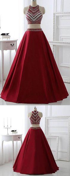 Two Pieces Burgundy Prom Dress Bridal Party Dresses PG 220 #twopiece #promdress #eveningdress #partydress #pgmdress