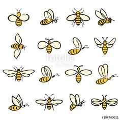 Find Bees Set Bee Honey Production Insect stock images in HD and millions of other royalty-free stock photos, illustrations and vectors in the Shutterstock collection. Thousands of new, high-quality pictures added every day. Bumble Bee Tattoo, Honey Bee Tattoo, Honey Bee Drawing, Bee Icon, Honey Logo, Bee Painting, Small Bees, Cute Bee, Bee Art
