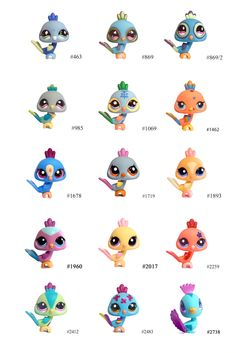 Littlest Pet Shop Peacocks from Oldest to Newest