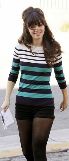 Kate Spade striped shirt and shorts. Zooey Deschanel as Jessica Day in New Girl. Make sure to check out my fitness tips, nutrition info and Brazilian Athletic wear at https://ronitaylorfit.com/