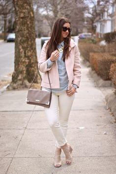 Spring Neutrals: Peach Coat & Cream Jeans &