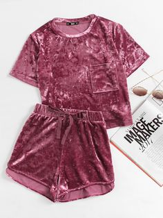 Shop Pocket Front Crushed Velvet Top And Bow Shorts Set online. SheIn offers Pocket Front Crushed Velvet Top And Bow Shorts Set & more to fit your fashionable needs. Cute Pjs, Cute Pajamas, Comfy Pajamas, Crushed Velvet Top, Velvet Tops, Velvet Cami, Velvet Jumpsuit, Velvet Shorts, Cute Sleepwear