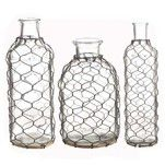 RAZ Wire Covered Bottle Set of 3