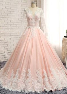 Charming Prom Dress,Appliques Prom Dress,Long-Sleeves Evening Dress,V-Neck Prom
