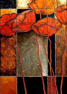 "Daily Paintworks - ""Contemporary Mixed Media Flower Art Painting Patchwork Poppies by Colorado Mixed Media Abstract A"" - Original Fine Art for Sale - © Carol Nelson Stained Glass Art, Mosaic Glass, Contemporary Abstract Art, Contemporary Artists, Art Abstrait, Hanging Art, Art Blog, Flower Art, Life Flower"