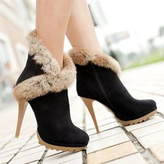 Meotina Women Boots Platform High Heels Winter Boots Ladies Shoes Sexy Stiletto Ankle Boots Rabbit Fur Shoes Black Green