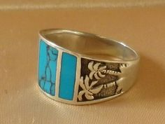 Vintage Sterling Silver Turquoise Palm Tree Ring Size 9 US and S in UK & Aust by OleSilverShoppe on Etsy