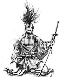 sketch of a kneeling samurai Ronin Samurai, 47 Ronin, Samurai Drawing, Samurai Artwork, Samurai Warrior Tattoo, Warrior Tattoos, Tattoo Crane, Arte Ninja, Japanese Warrior