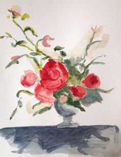 Floral shadow original watercolor painting and ink drawing by GrayDayStudio