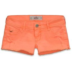 Hollister Low Rise Short-Shorts ($20) ❤ liked on Polyvore featuring shorts, destroyed neon orange, hot shorts, distressed shorts, low rise short shorts, destroyed shorts and neon short shorts