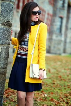 Classy Girls Wear Pearls Preppy Outfits, Preppy Style, Stylish Outfits, Yellow Outfits, School Fashion, Daily Fashion, New England Fashion, J Crew Skirt, Classy Girl