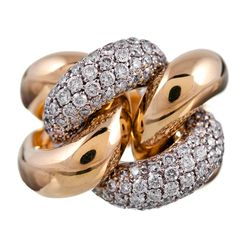 "1stdibs - Polished Gold and Diamond ""Chain Link"" Ring explore items from 1,700  global dealers at 1stdibs.com $9800"