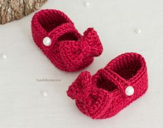 Ruby Red Mary Jane Booties - Free Crochet Pattern