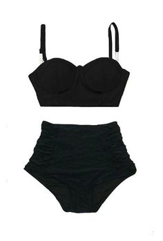 High waist Bikini, High waisted Bikini, Two piece, Bikini, Swimsuit, Swimwear, Bathing suit, Black Midkini top and Ruched bottom S M L XL by venderstore on Etsy