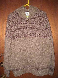 Mens Gap Brand Cardigan Sweater Hooded XL Zip Front