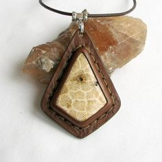 Bohemian Necklace  Stone & Leather Pendant w by @aosLeather on Etsy, $57.00