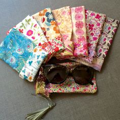 Reversible liberty print sun glasses case pattern, by FlorrieMarie