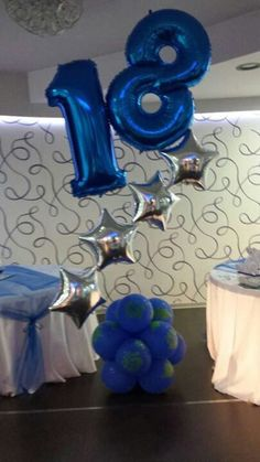 birthday cluster with stars and Megaloons Balloons And More, Number Balloons, Foil Balloons, Balloon Flowers, Balloon Bouquet, Balloon Arrangements, Balloon Decorations, Balloon Columns, Balloon Arch