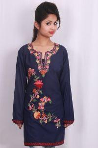 Bluecolor kurti  Kashmiri aari work embroidery  summer cool cotton fabric