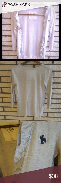 Abercrombie & Fitch Ladies' Light Gray Cardigan Small light gray Abercrombie & Fitch cardigan with two pockets and ruffles and open front. Abercrombie & Fitch Sweaters Cardigans