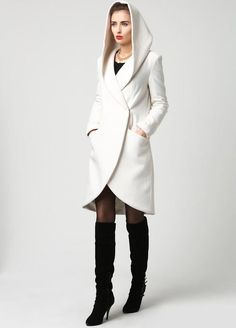 wrap coat white coat hooded coat winter coat wool coat short coat womens coats casual coat mod clothing custom made by xiaolizi Fashion Trends 2018, Trendy Fashion, Dame Chic, Beige Coat, Wrap Coat, Coat Dress, Winter White, Vest Jacket, Coats For Women