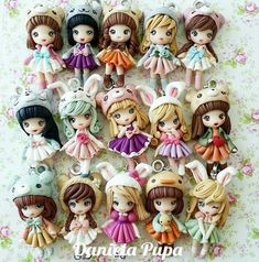 . Polymer Clay Kunst, Polymer Clay Figures, Cute Polymer Clay, Cute Clay, Polymer Clay Dolls, Polymer Clay Charms, Polymer Clay Creations, Miniature Dolls, Miniature Crafts