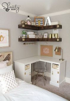 ideas for small rooms women Decorative and Small Bedroom Design Ideas for This Year Part 20 Room Ideas Bedroom, Teen Room Decor, Small Room Bedroom, Cool Room Decor, Office In Bedroom Ideas, Room Decor Teenage Girl, Girls Bedroom Organization, Makeup Organization, Small Bedroom Interior