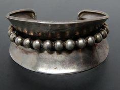 Vintage Alfredo Villasana Taxco Mexico Sterling Silver Beaded Wide Cuff Bracelet