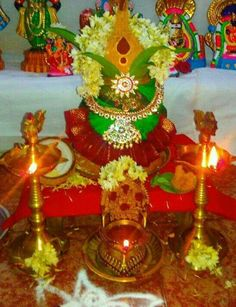 Kalash Decoration, Mandir Decoration, Ganapati Decoration, Diy Diwali Decorations, Stage Decorations, Festival Decorations, Flower Decorations, Diwali Pooja, Diwali Diy