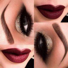 Maquillaje de fiesta - Ojos dorados y labios oscuros