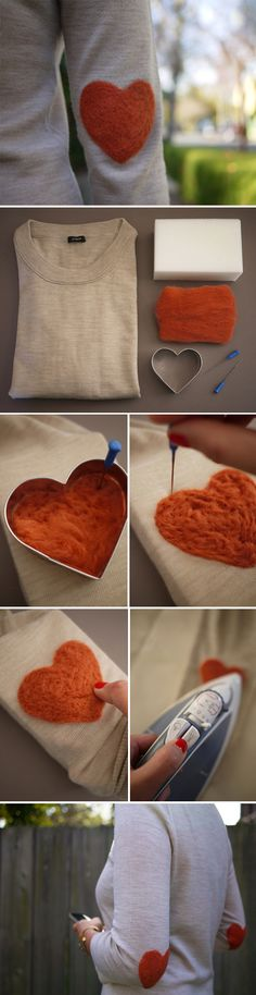 DIY project: heart elbow patches