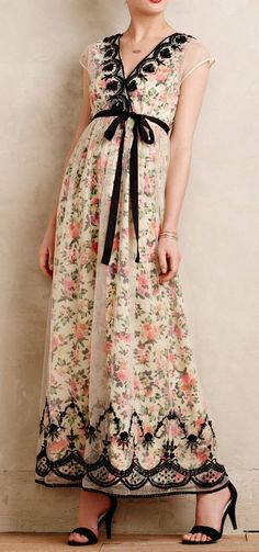 Glasshouse Maxi Dress. Love the floral fabric with the sheer overlay and black trimmings.  #modestfashion    #anthropologie #dresses