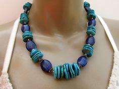 Chunky Turquoise necklace Turquoise Lapis  -  Southwest jewelry Turquoise jewelry. $299.00, via Etsy.
