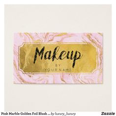 Shop Pink Marble Golden Foil Blush Makeup Artist Business Card created by luxury_luxury. Business Card Maker, Unique Business Cards, Business Card Size, Professional Business Cards, Business Card Design, Makeup Artist Business Cards, Hair And Beauty Salon, Blush Makeup, Pink Marble