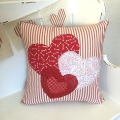 Our Valentines Pillow Cover is the perfect accent for your home when Love is in the air and you want to show it off,. Whether the Red Ticking Hearts Pillow Slip steals the show on your sofa or shines in the entryway, the hearts speak how much you love you Sewing Pillows, Diy Pillows, Decorative Pillows, Throw Pillows, Cushions, Wash Pillows, Large Pillows, Valentines Bricolage, Valentines Diy