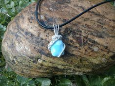 Larimar pendant with sterling silver weave Stefilia's