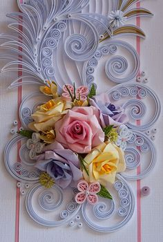 Neli is a talented quilling artist from Bulgaria. Her unique quilling cards bring joy to people around the world. Neli Quilling, Paper Quilling Cards, Paper Quilling Flowers, Paper Quilling Patterns, Paper Crafts Origami, Quilling Tutorial, Quilling Flower Designs, Flower Pattern Drawing, Quilled Creations